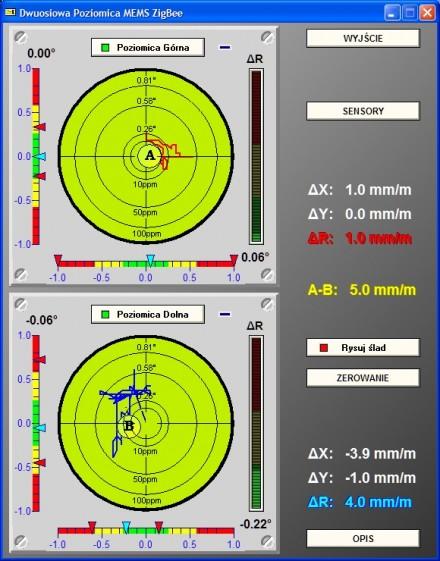 Dwuosiowa poziomica elektroniczna MEMS ZigBee - wizualizacja