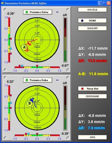 Dwuosiowa poziomica elektroniczna MEMS ZigBee–interfejs